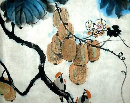 猕猴桃水墨画